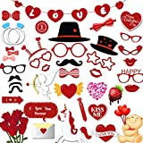 47 Pieces Valentine's Day Decorations – Photo Booth Props – Durable, Reusable...
