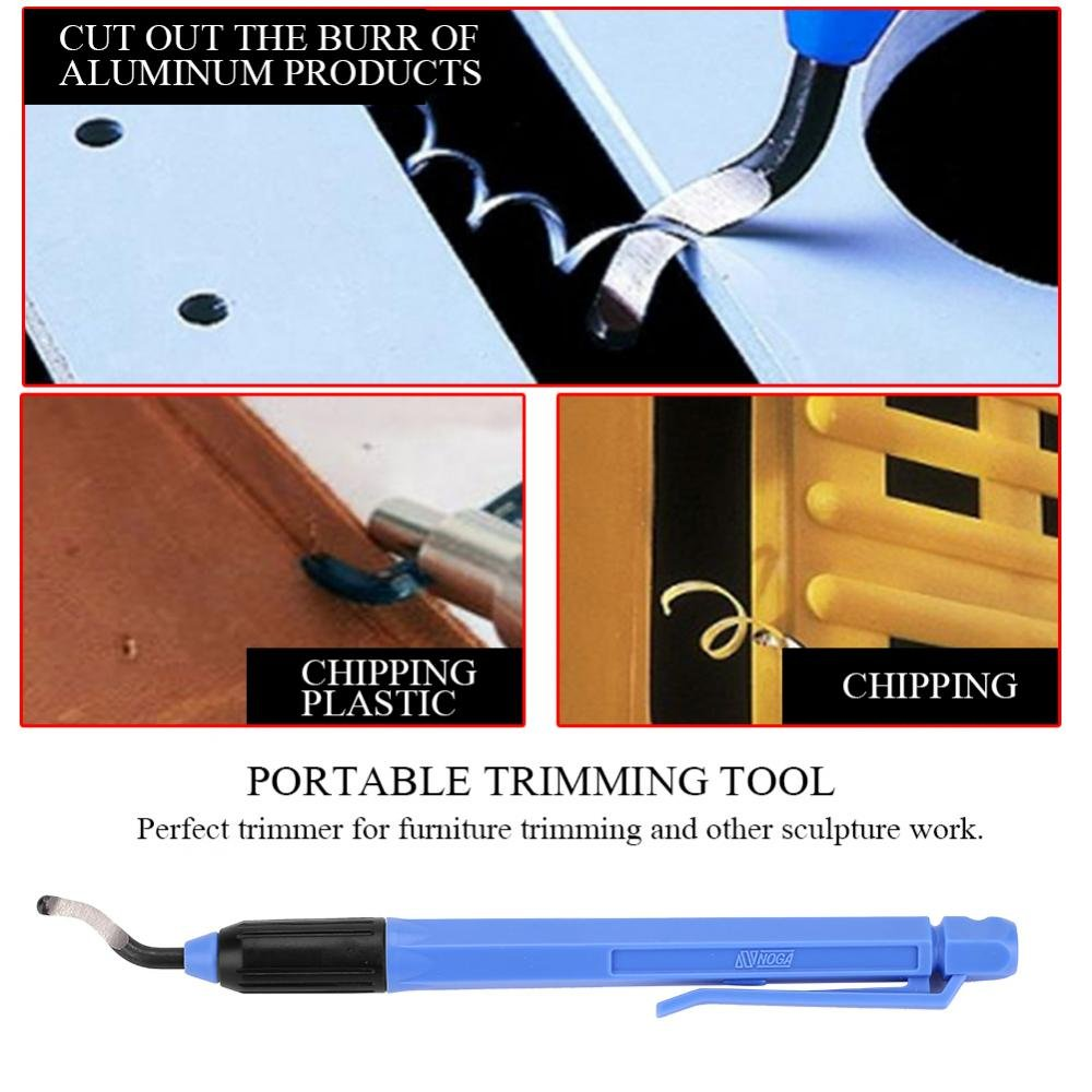Aluminum Plastic Copper and Steel Zerodis Blue Household Ballpoint Pen Style Hand Deburring Tool with 1 Trimmer and 10 Blades Practical for Cutting Deburrs Wood