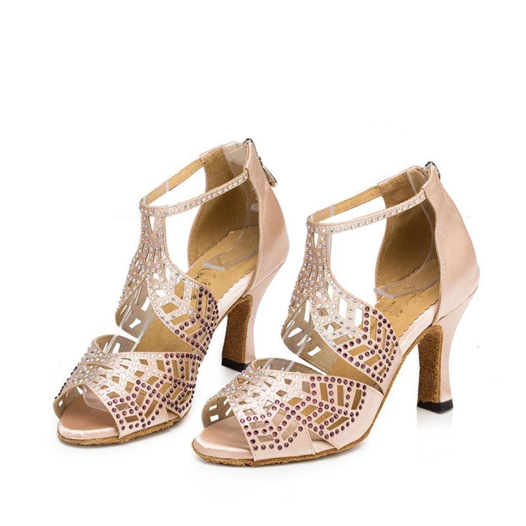 Wgwioo Zapatos De Baile Tango De Mujeres Tango Latino Salón De Baile De Tacón Alto Suave Fondo De Cuero Diamante Suede Strap Tobillo Clásico Sandalias Albaricoque Color . A . 35 35|A