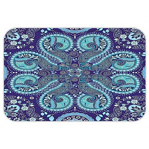 VROSELV Custom Door MatPaisley Indian InspiredDecoration with Ivy FlowerRound ShapeArt Indigo Teal Cadet Blue Slate (Indian Autumn Slate Tile)