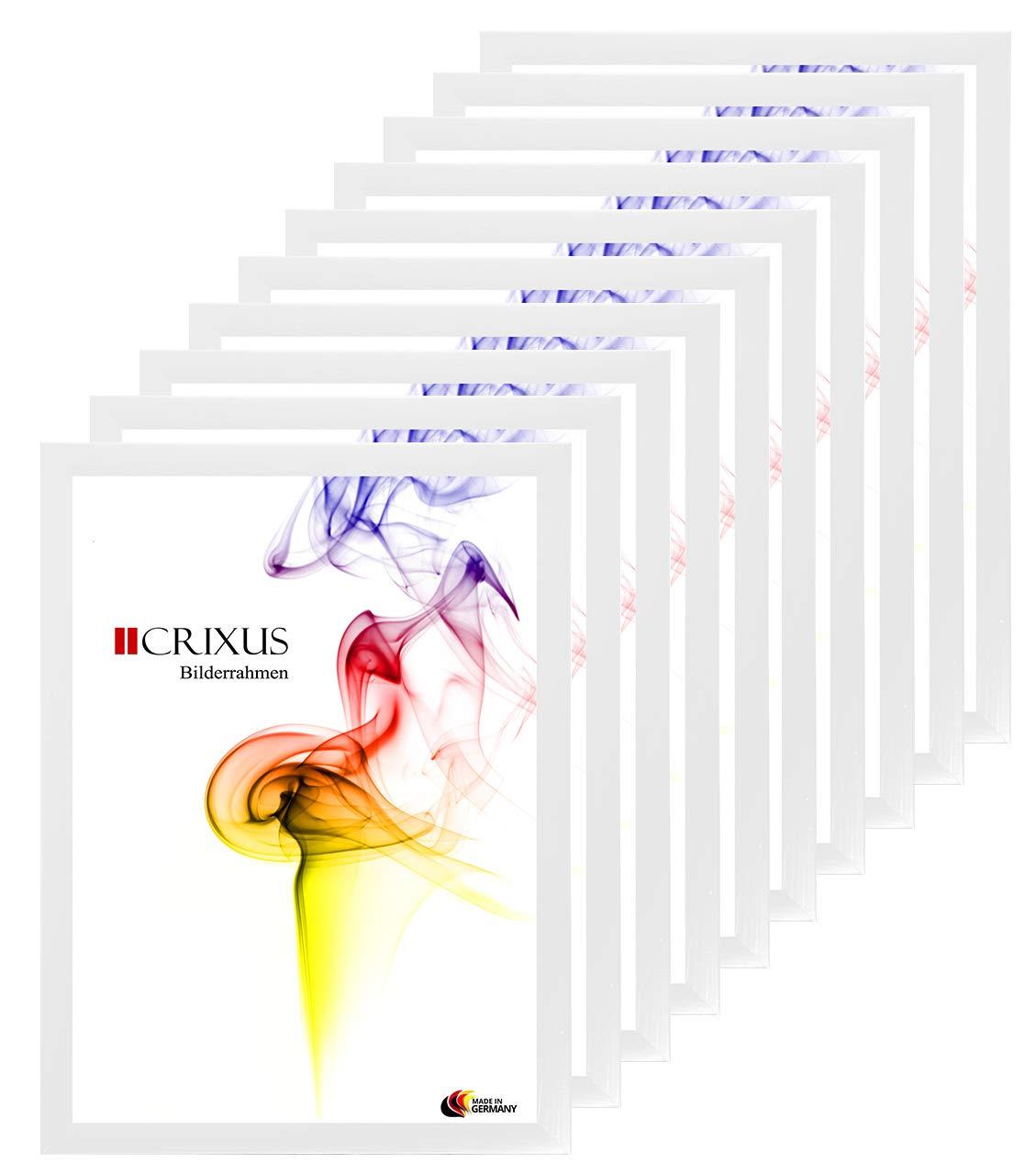 Crixus35 Bilderrahmen 10er Set für 11 x 15 cm Bilder, Farbe  Weiß gemasert, Holzrahmen MDF Maßanfertigung mit Acryl Kunstglas und MDF Rückwand innen Weiß lackiert, Rahmen Breite  35mm, Aussenmaß  16,6 x 20,6 cm