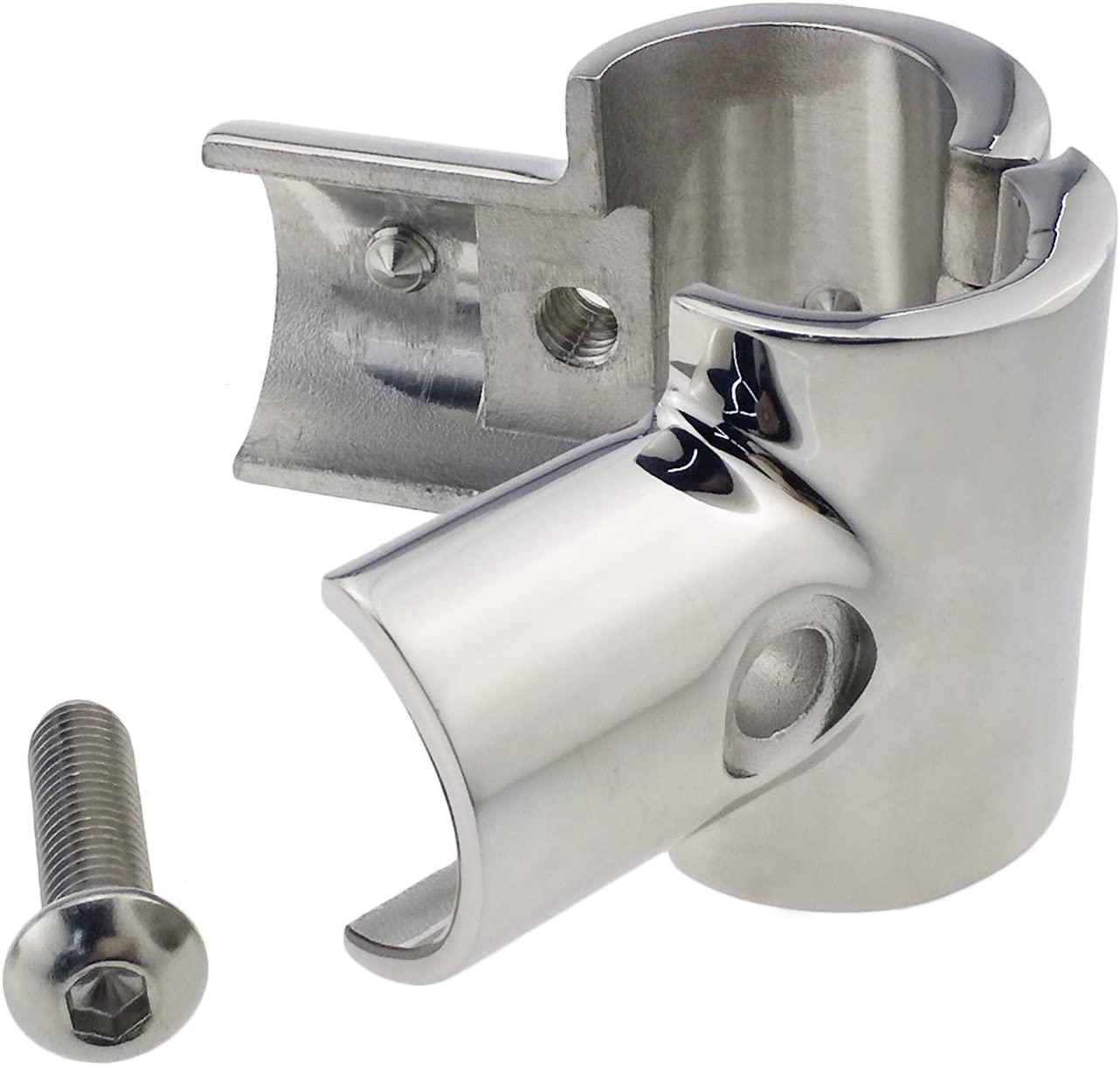 """1PC Stainless Steel Boat Hand Rail 60 Degree Tee Hardwares Fitting 7//8/"""" Tube New"""
