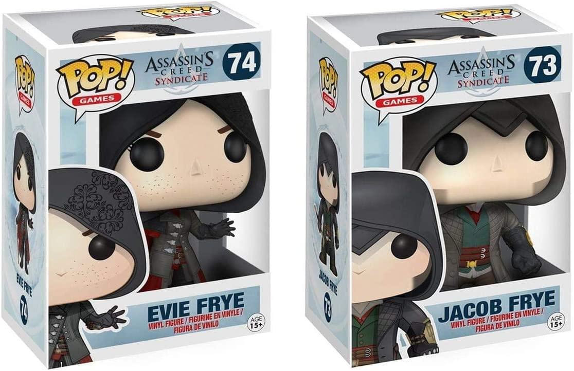 Amazon Com Pop Games Assassin S Creed Syndicate Jacob Frye And Evie Frye Vinyl Figures Set Of 2 Toys Games