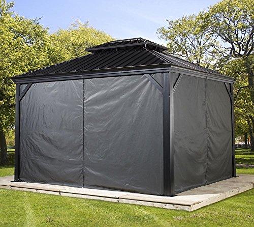 Sojag Aluminium Pavillon Messina Vorhänge Seitenteile Dunkelgrau / passend für Gartenlaube Messina