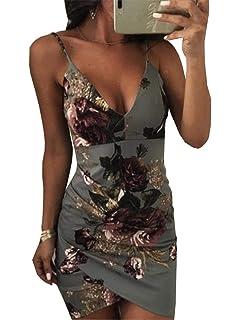Frecoccialo Robe Erotique Club Mini imprimé des Fleurs Sexy Col V Profond à  Bretelles Fines Spaghetti 9c8ad188a46