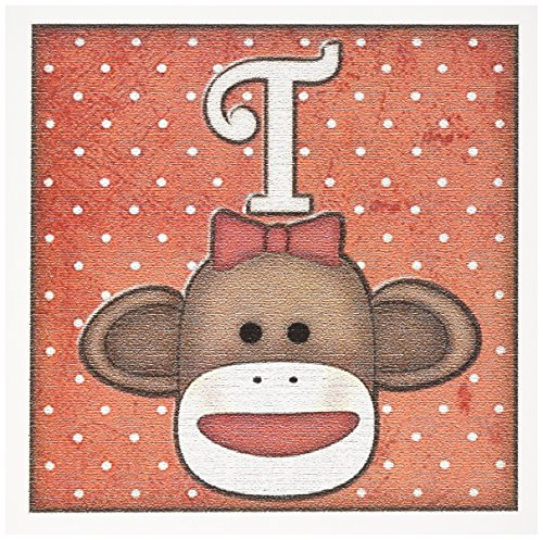 Sock Monkey Invitations (3dRose Cute Sock Monkey Girl Initial Letter T - Greeting Cards, 6 x 6 inches, set of 12)