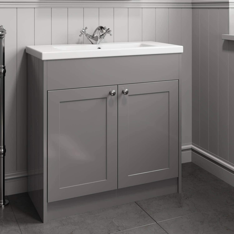 Park Lane Traditional 10mm Bathroom Furniture Vanity Unit Basin Sink  Storage Cabinet Grey Finish
