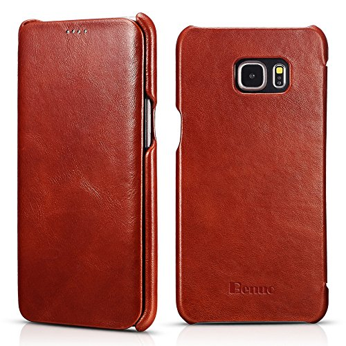 Galaxy S6 Edge Plus Case, Benuo [Vintage Classic Series] [Genuine Leather] Flip Case Folio Cover [Ultra Slim] [Business Style], Leather Case [Edge Protector] for Samsung Galaxy S6 Edge Plus (Brown)