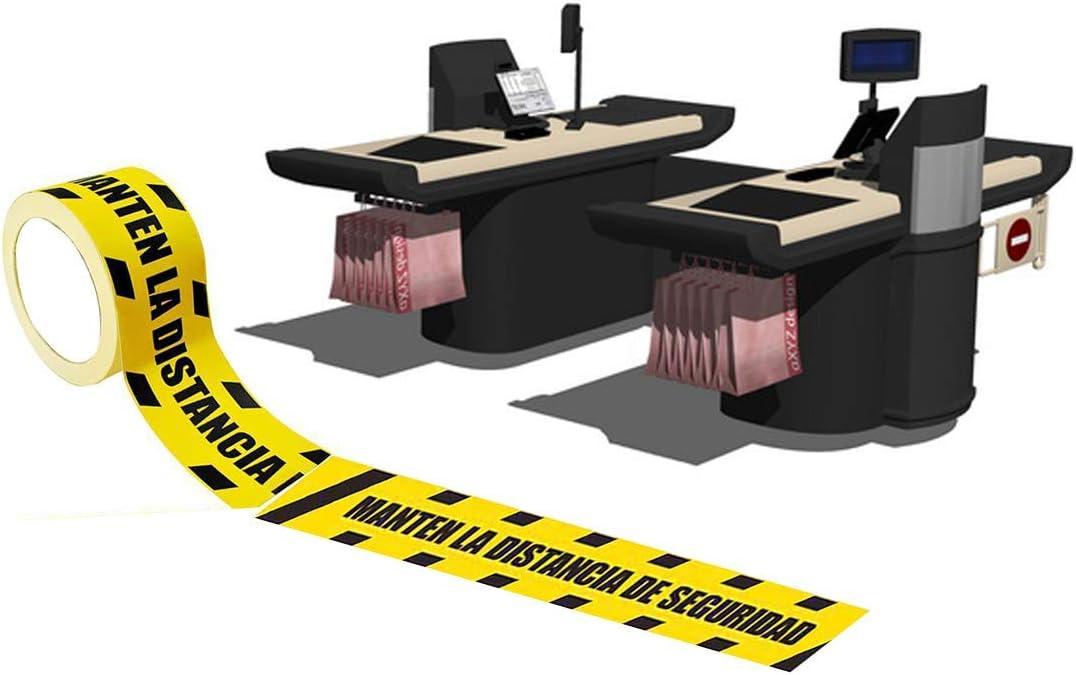 2500 x7,2cm 25 Metros largo con el Texto: Manten LA Distancia DE Seguridad Vinilo Antideslizante Rollo de vinilos Adhesivos para Suelo Adhesivo para Exteriores
