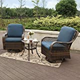 Cheap PHI VILLA Rattan Swivel Rocking Chairs 3 PC Patio Conversation Set, 2 Cushioned Chairs & 1 Side Table