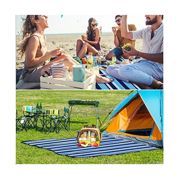 61uvq%2BWKXiL Wrei Picknickdecke, 200x200CM XXL Picknick Matte Outdoor Faltbare Stranddecke wasserdichte Sanddichte Campingdecke…