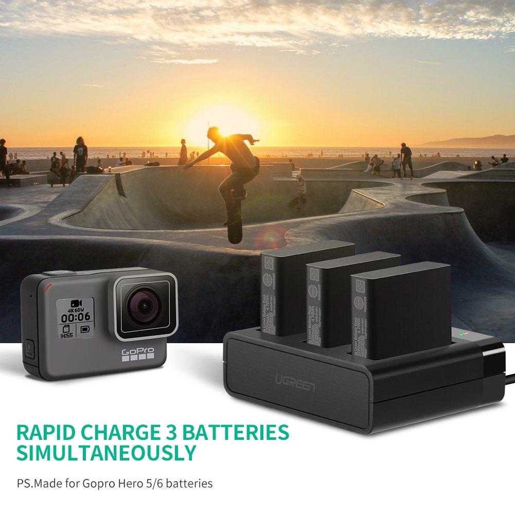 Amazon.com: Ugreen cargador de batería para Go Pro Hero 5, 3 ...