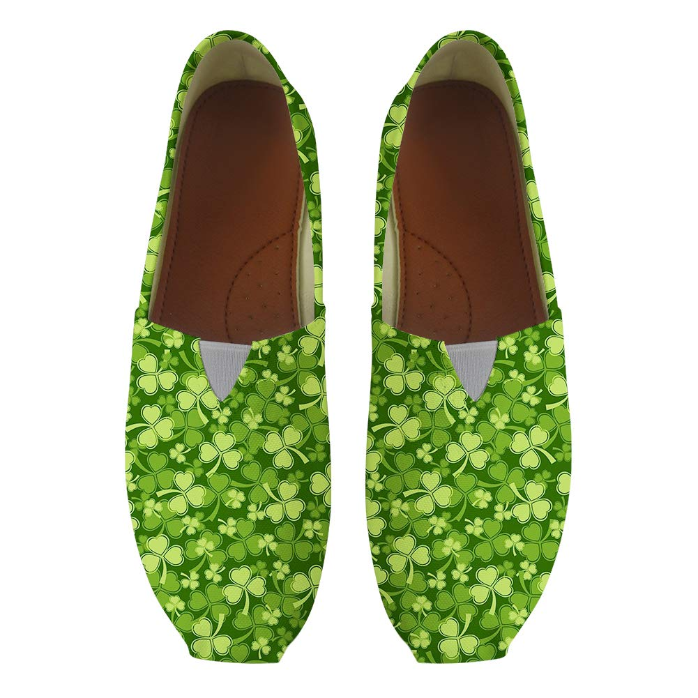 Classic Canvas Slip-On Lightweight Driving Shoes Soft Penny Loafers Men Women Heart-Shaped Shamrock Clover