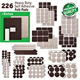 #5: Premium FELT PADS - Ultra LARGE PACK 226 pcs - 2 COLORS! Best Felt Furniture Pads for hardwood floors & Vinyl & Laminate - chair leg floor protectors BONUS: 24 Furniture BUMPERS PADS + 2 FELT SHEETS