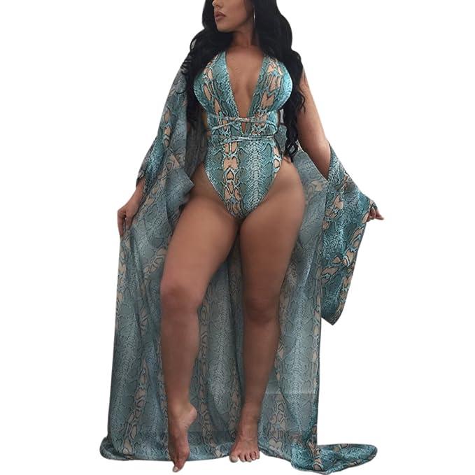 e90d19a1f7f Paixpays Women Boho One Piece Swimwear + Long Sleeve Cover up Set Bathing  Suit at Amazon Women s Clothing store