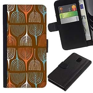 Planetar® Modelo colorido cuero carpeta tirón caso cubierta piel Holster Funda protección Para Samsung Galaxy Note 3 III ( Pintura Papel pintado retro de la vendimia del arte del árbol )