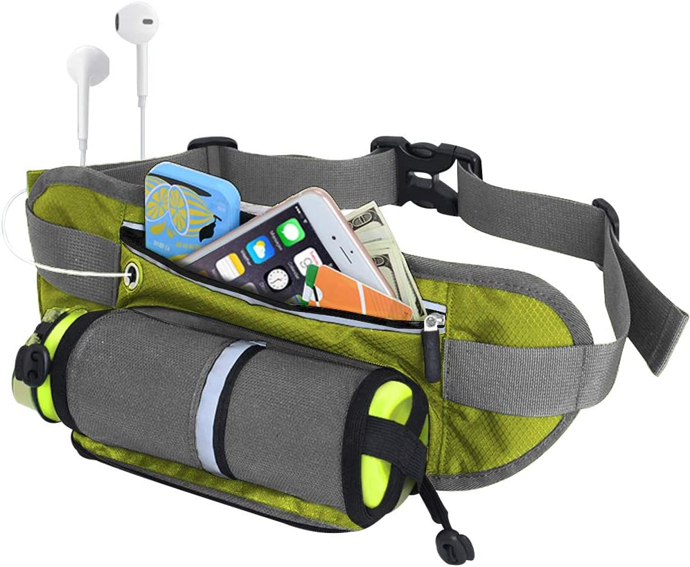 REETEE Hiking Waist Pack Bum Bag Waterproof Waist Bag with Bottle Holder Sports Fanny Packs for Running Travel Cycling Outdoor Sport Men and women hip pouch bag gray
