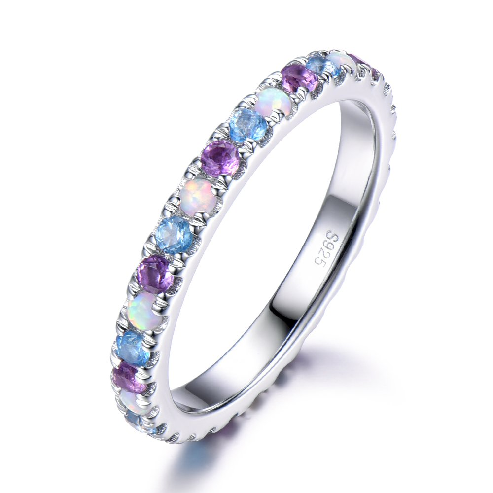Opal Amethyst Blue Topaz Wedding Band 925 Sterling Silver Full Eternity White Gold Stacking Ring