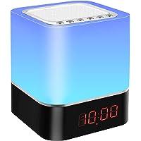 AWQM Nachttafellamp, touch dimbaar, 5-in-1 bluetooth-luidspreker, wekker, led-lichtwekker, MP3-speler met SD-kaart, USB…