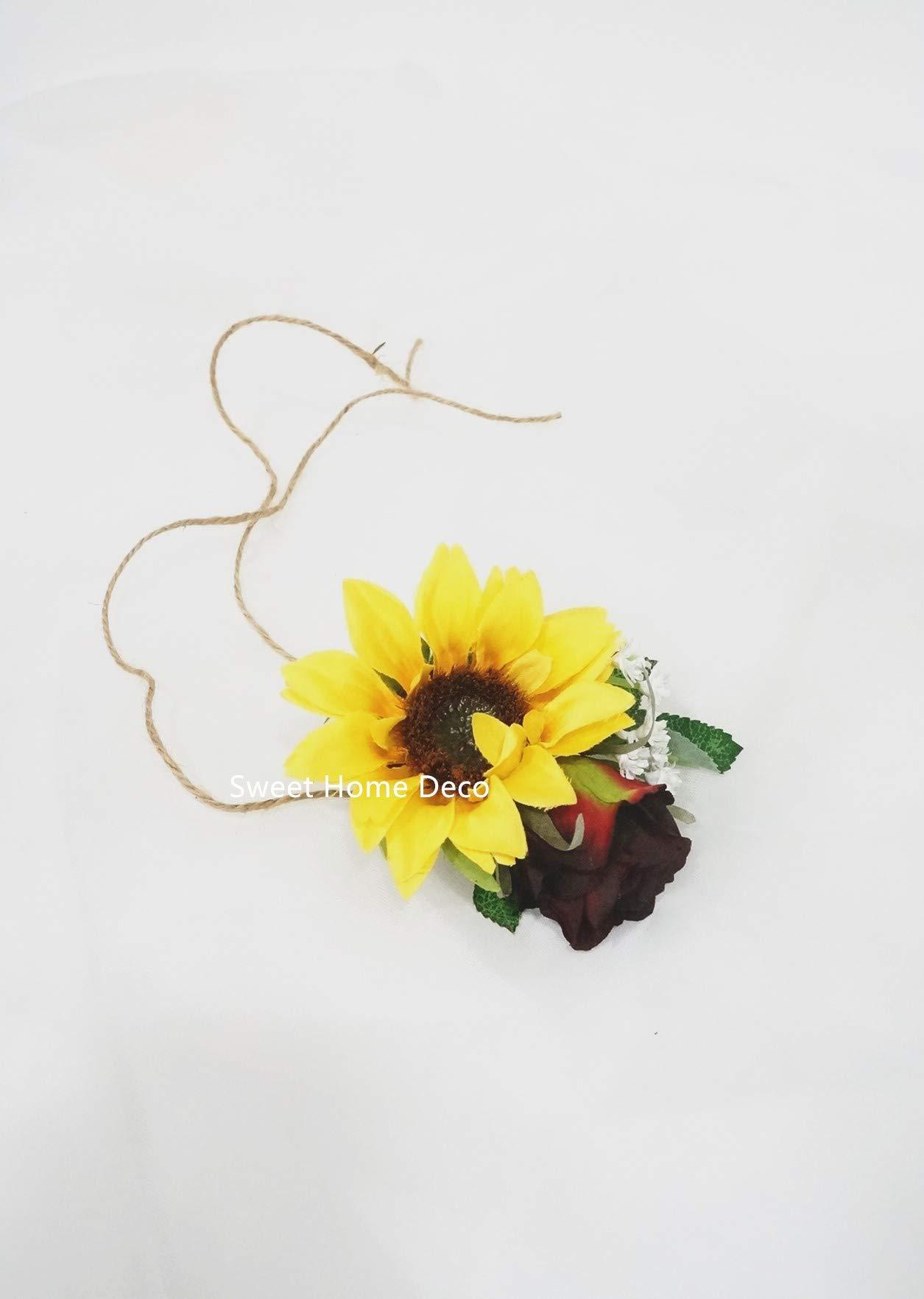silk flower arrangements sweet home deco silk sunflower burgundy rose baby's breath mixed wedding bridal bridesmaid bouquet boutonniere corsage package for autumn (yellow/burgundy-wrist corsage)