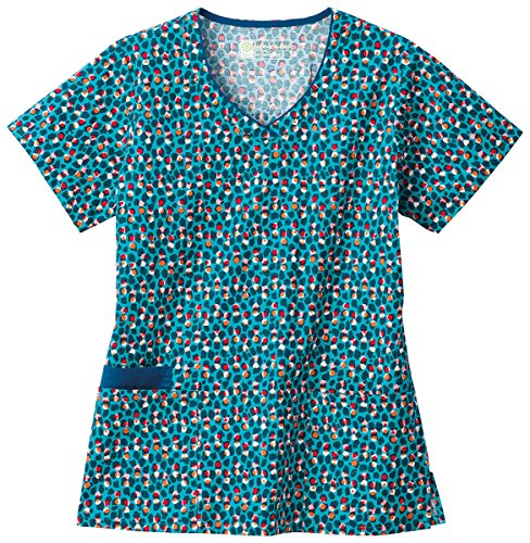 Bio Women's V-Neck Dot Print Scrub Top XXXXX-Large Print (Cotton Print Scrub)