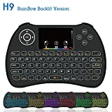Dupad Story [2018 Updated] H9 2.4GHz Colorful Blacklit Mini Wireless Keyboard with Touchpad Mouse Combo, USB Rechargeable for Raspberry Pi,Google Android TV Box,HTPC,IPTV,PC,PAD,PS4 and More