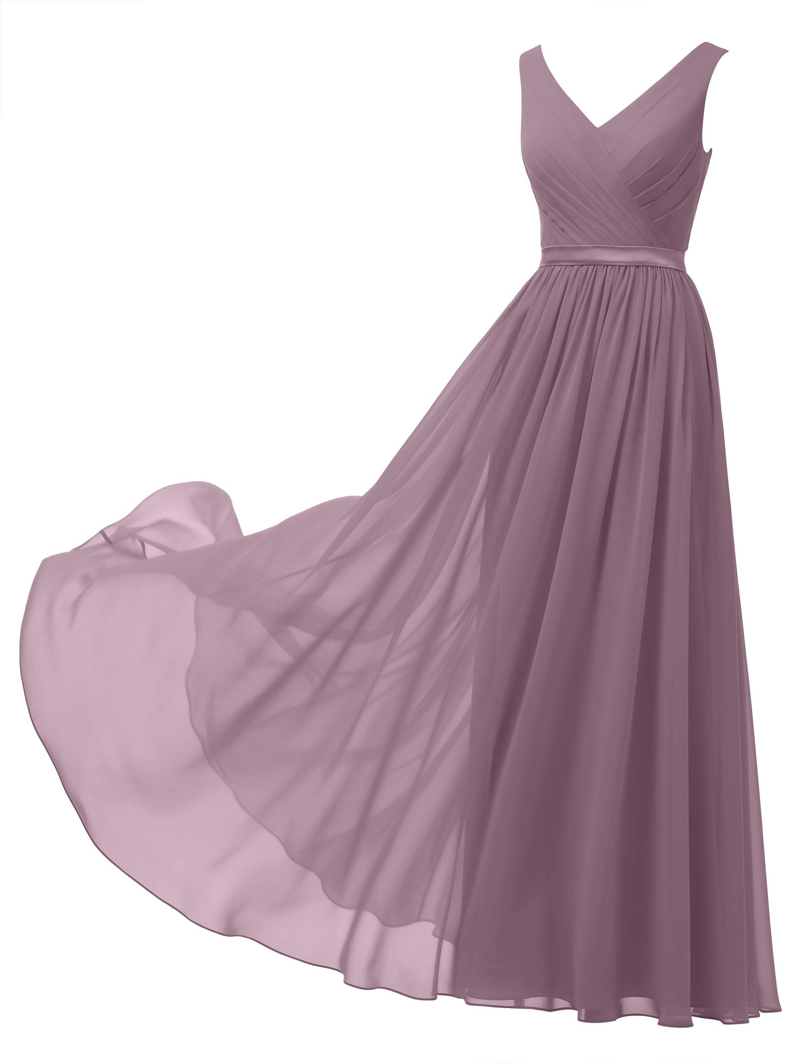 ae7c0ce47c09 Alicepub V-Neck Chiffon Bridesmaid Dress Long Party Prom Evening Dress  Sleeveless, Mauve Mist, US0