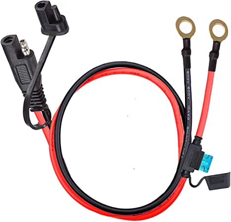 60CM YETOR SAE to O Ring Terminal Harness 2-Pin Quick Disconnect Plug,SAE Battery Extension Cable with 2FT 10AWG for Motorcycle Cars. with 15A Protection Fuse for Safety