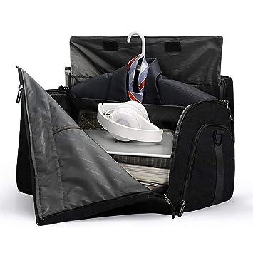 d62f153a063c Foldable Garment Bag Carry on Duffel Bag Travel Bag for Men and Momen  Flight Bag Weekender Travel Suit Bag (black)