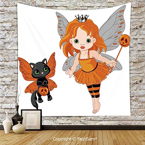 Polyester Tapestry Wall Halloween Baby Fairy and Her Cat in Costumes Butterflies Girls Kids Room Decor Decorative Hanging Printed Home -