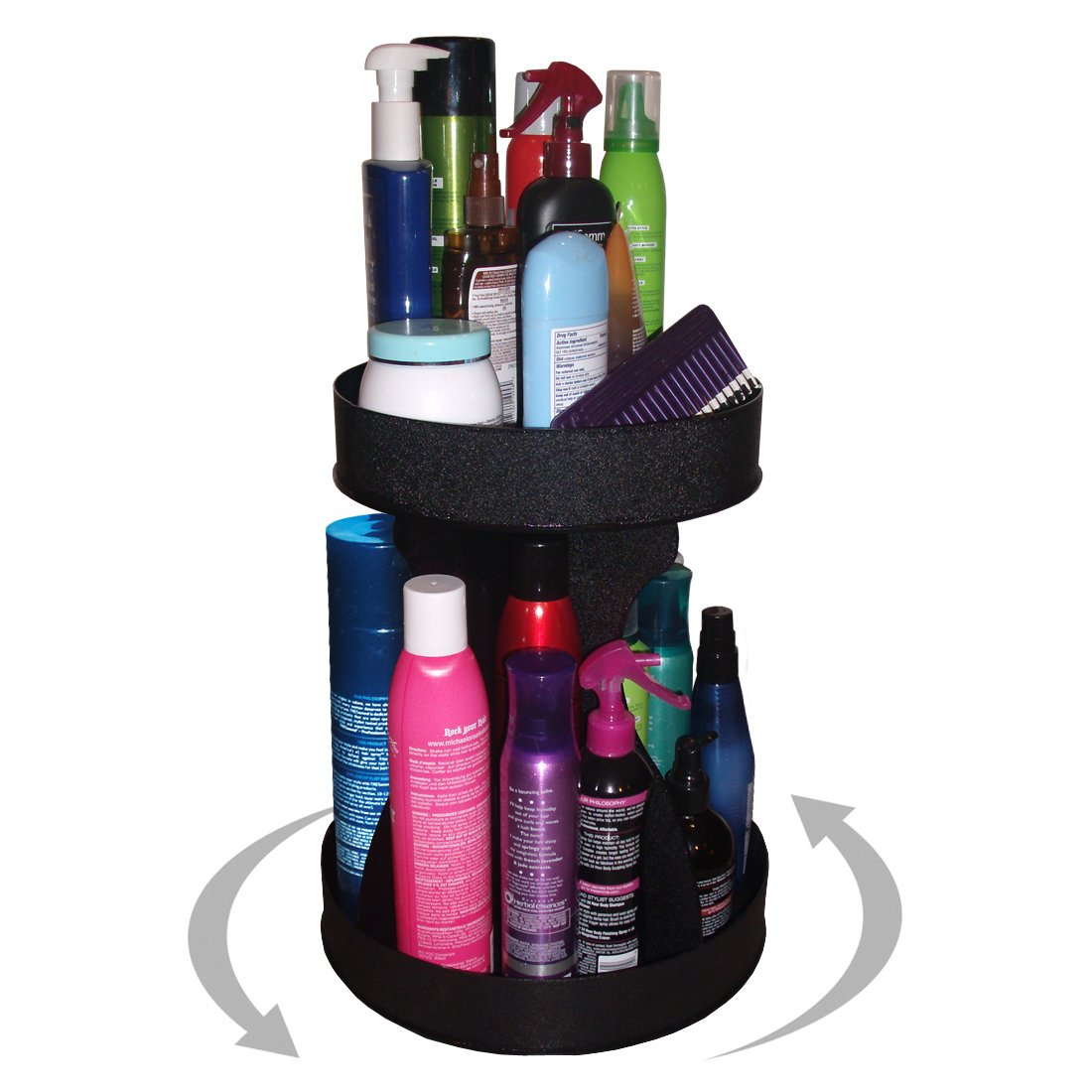 Cosmetic Spinner Organizer for Tall Bottles, Double Your Storage in Only 12'' of Counterspace. Made in the USA.