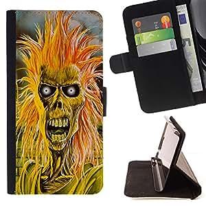 Orange Zombie Dead Skeleton Selfie - Modelo colorido cuero de la carpeta del tirón del caso cubierta piel Holster Funda protecció Para Samsung Galaxy S6