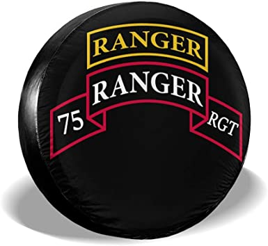 RV DSJsdfhskdzlp US Army 75th Ranger Regiment Patch with Ranger Car Tire Cover Spare Wheel Tire Cover for Fit for Trailer SUV and Various Vehicles 14 15 16 17 Inch