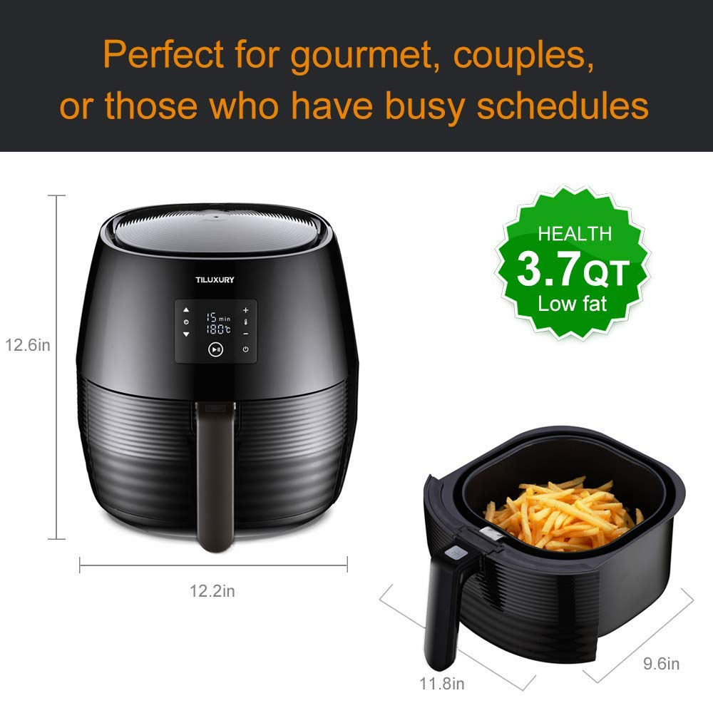 US PIEDLE Air Fryer, 3.7Qt Electric Hot Airfryer Oven Oilless Cooker with Detachable Nonstick Basket, LCD Touch Screen, Dishwasher Safe, Auto Shut Off, W 50 Recipes, 1400W Renewed