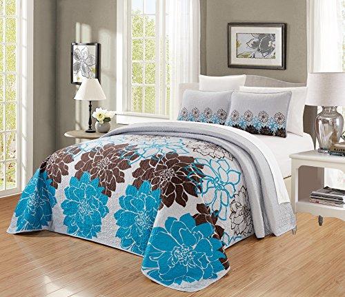 "GrandLinen 3-Piece Fine Printed Oversize (100"" X 95"") Quilt Set Reversible Bedspread Coverlet Queen Size Bed Cover (Aqua Blue, Brown, Grey Floral)"