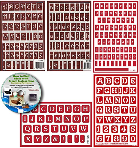 Multi Font Letter Stencil (5) Pack , Includes Alphabet & Numbers, Over N Over Reusable + How to Etch CD by Armour Etch