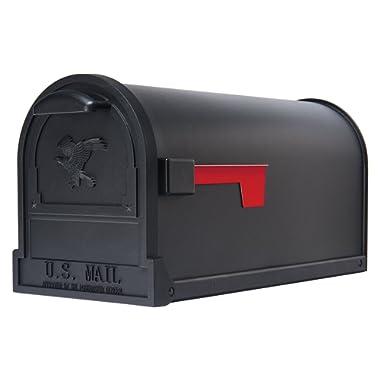 Gibraltar Mailboxes Arlington Large Capacity Galvanized Steel Textured Black, Post-Mount Mailbox, AR15B000