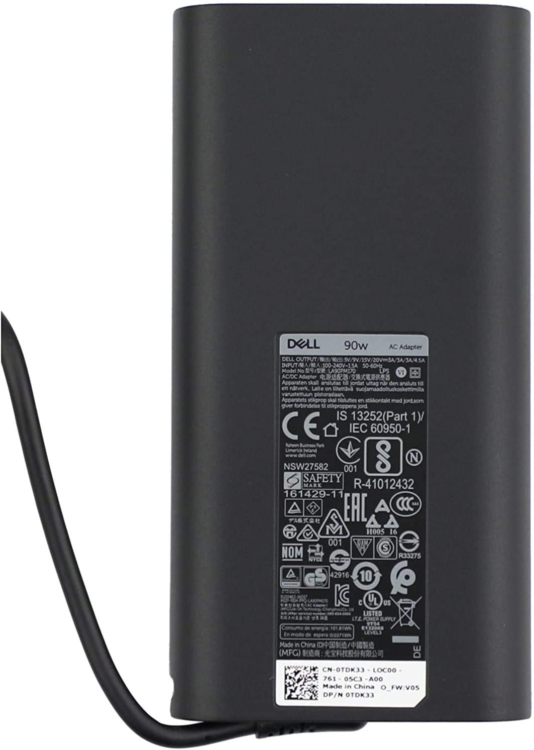 New Laptop Charger 90W watt USB Type C(USB-C) AC Power Adapter Include Power Cord for Dell XPS 13,Precision 3540,Latitude 3400,3500, 5289,5300 2in1,7400 2in1,7300, 7390 2in1, 7200 2in1,5400,0TDK33