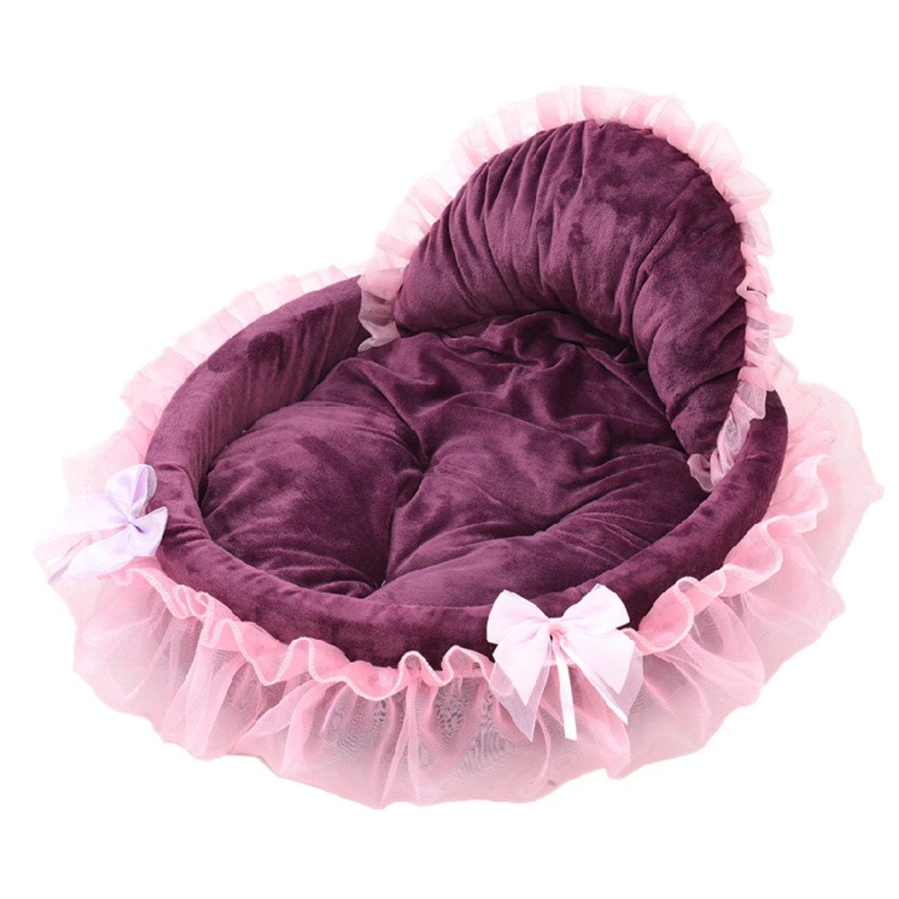 HNBGY Grazioso Dog Bed Mat Cat Puppy Cozy Kennel Pad Tent Lace Princess Nest (S, Viola)