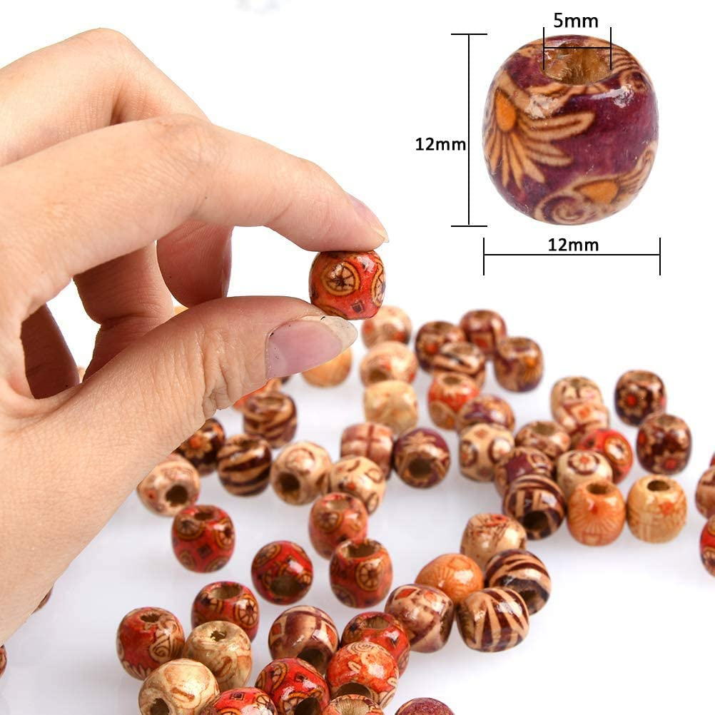 Knitting Crafts 6pcs Wooden Stick and 50pcs Painted Wooden Beads for DIY Plant Hangers FOXNSK 109 Yards Natural Macrame Cord 3mm with 6pcs Wood Ring