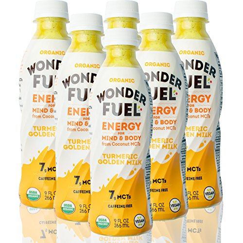 Wonder Fuel Turmeric Golden Milk- Organic Clean Energy Drink with Coconut MCT Oil and Turmeric | No Artificial Sweeteners or Added Sugars | Non-GMO | Vegan | Natural and Gluten Free - 9oz 6-Pack