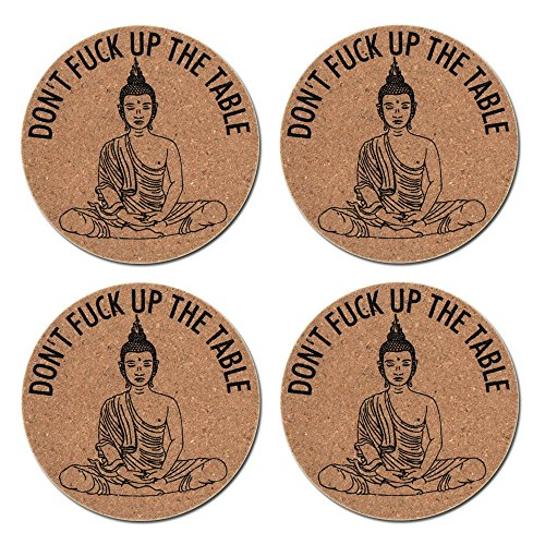 akeke Buddha Art Cork Coasters for Drinks - Set of 4 Funny Buddha Decor Drink Coasters, Don't FΛCK UP My Table, Great Gift for Kitchen, Living Room, Home Decor, Protects Furniture from Damage (Buddha Home Decor)