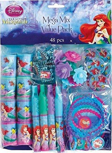 Disney Little Mermaid Ariel Birthday Party Supplies 48pc Mega Value Favor Pack