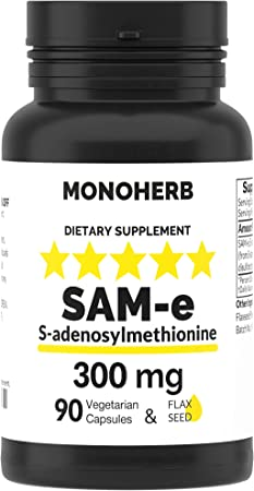SAM-e 300mg Supplement - S-Adenosyl-L-Methionine - 90 Capsules, with Omega 3