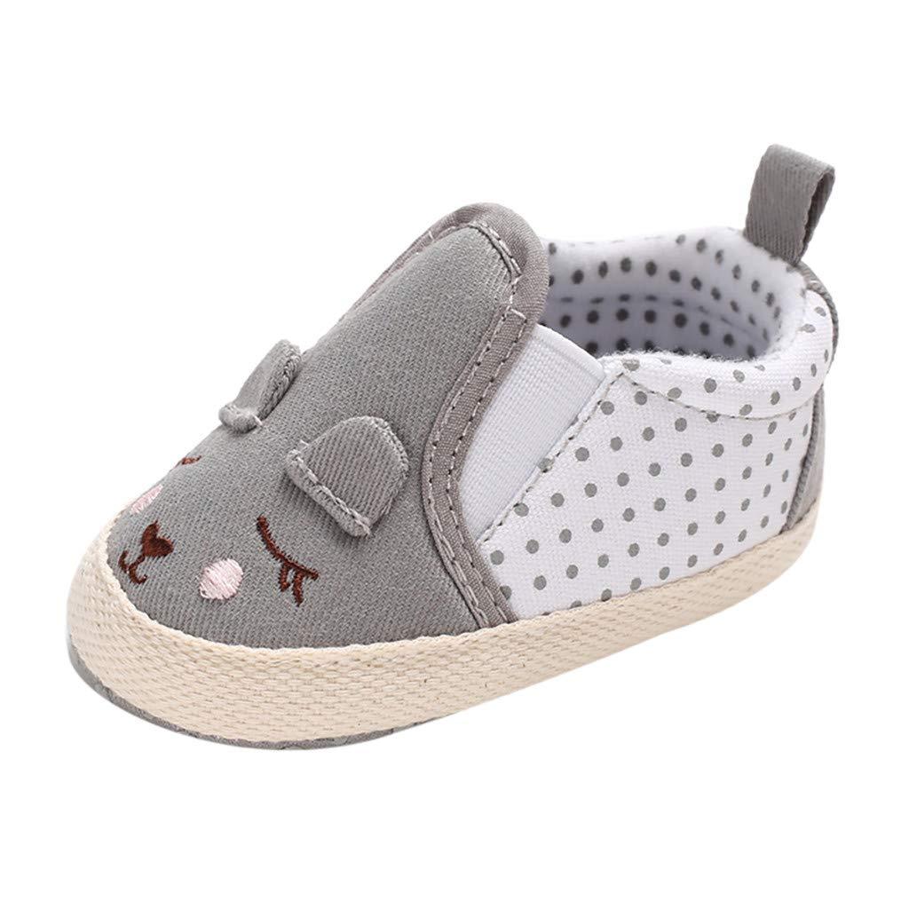 NUWFOR Infant Newborn Baby Girls Prewalker Soft Sole Cartoon Animal Single Shoes(Gray,0~6 Month)