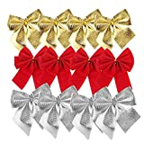 Barhunkft(TM) 24 Pcs Bows Christmas Tree Decoration Xmas Bowknot Party Garden Wedding Ornament(Random Color)