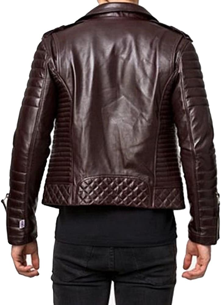 Kingdom Leather New Mens Leather Jacket Slim Fit Biker Motorcycle Genuine Leather Coat X444