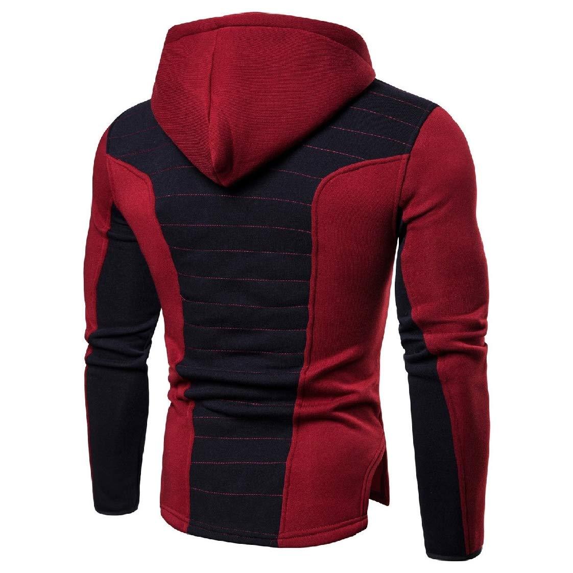 YUNY Men Color Block Full-Zip Sports Hooded Fitness Sweatshirts Outwear Red L