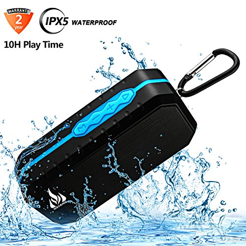 Bluetooth Wireless Speakers Waterproof IPX5 With HD Enhanced Bass Outdoor Wireless Portable Phone Speakers Built-in Mic Support FM AUX TF Card USB for iPhone iPad Android Phones Computer Etc. (Ads Ipod)
