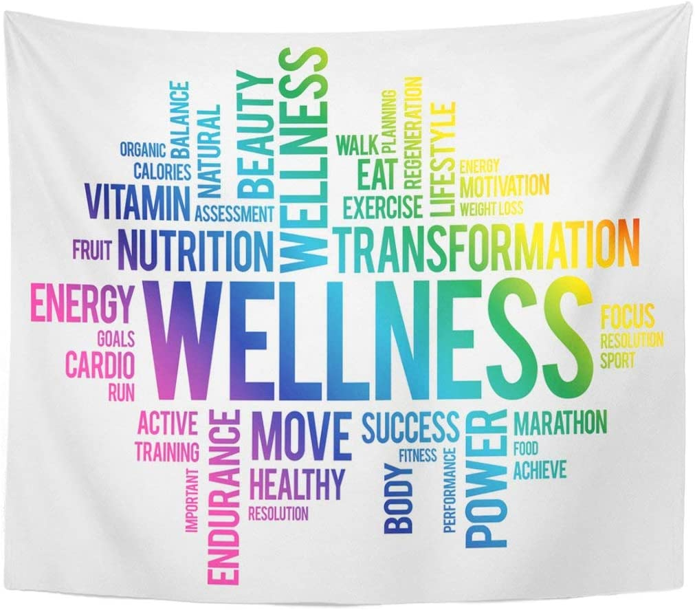 Fashion Tapestry Food Wellness Word Cloud Fitness Sport Health Medicine Nutrients Home Decor Wall Hanging for Living Room Bedroom Dorm 50x60 Inches